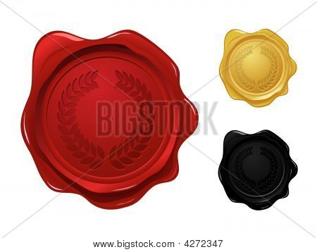 Wax Seal With Laurel Wreath Stamp