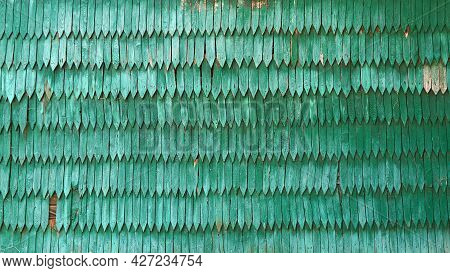 Old Vintage Green Wood Shingle Wall Background