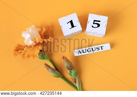 Calendar For August 15 : The Name Of The Month Of August In English, Cubes With The Number 15, Yello
