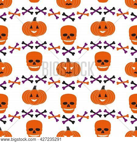 Halloween Holiday Funny Icons Seamless Geometric Vector Pattern. Cute Scary Pumpkin, Skull Bones Car