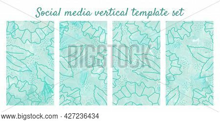 Green Cyan Botany Vertical Banners. Green Flowers On Light Blue Textured Background. Social Media Ve