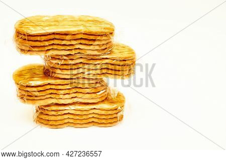 Cookies Or Crackers Sealed In A Cellophane Blister For Protection From Viruses