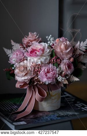 Art Photography. Still Life Bouquet Of Pink Roses On A Dark Background, Soft And Romantic. Still Lif