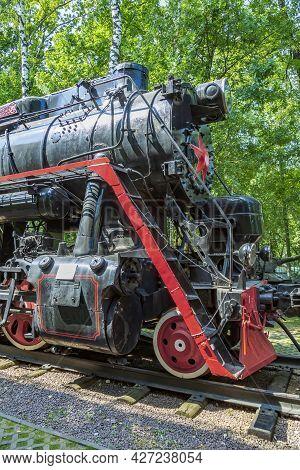 Rare Retro Steam Locomotive Of The Past Century In The Vehicle Museum