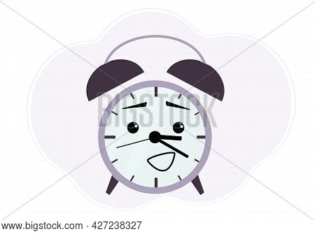 Illustration Of A Purple Alarm Clock With A Surprised And Cheerful Emotion.