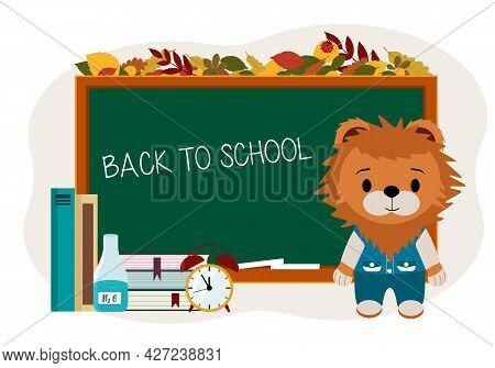 Illustration Of A Cute Lion Cub Near The School Board