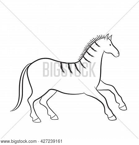 African Motives Drawing. Vector Graphic African Horse Illustration