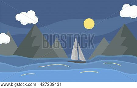 Night Landscape With Sea, Sailboat And Mountain. Cartoon Vector Illustration