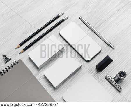 Blank Corporate Identity Template On Light Wood Table Background. Photo Of Blank Stationery Set. Moc
