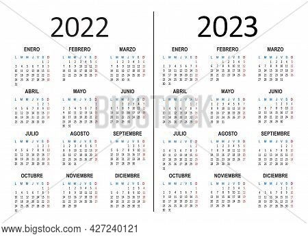 Spanish Yearly Calendar 2022 2023. Week Starts On Monday. Vector Illustration