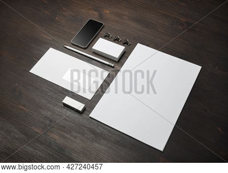 Blank Branding Identity Set On Wooden Background. Corporate Stationery Template. For Design Presenta