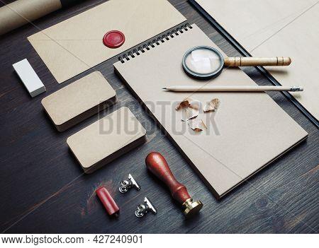 Blank Kraft Business Stationery Set On Wood Table Background. Corporate Identity Template. Branding