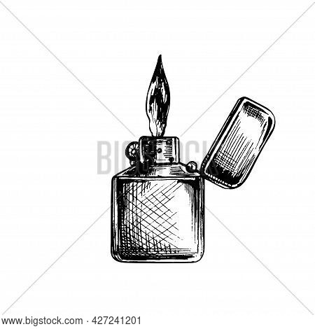 Metal Open Handle Lighters With Flame. Vintage Vector Hatching Color Hand Drawn Illustration Isolate