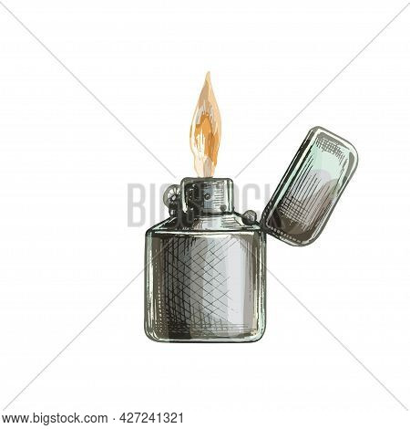 Metal Open Handle Lighters With Flame. Vintage Vector Hatching Black Hand Drawn Illustration Isolate