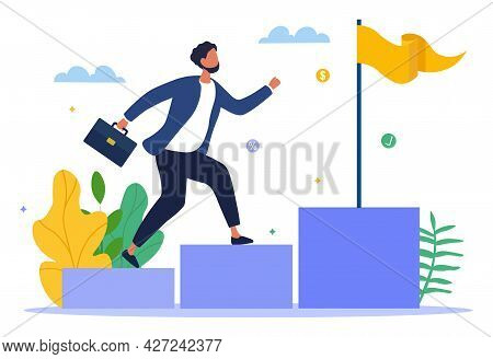 Financial Success Concept. Man With A Briefcase In His Hands Runs Up The Stairs To The Goal. A Metap