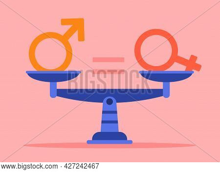 Gender Equality Concept. Male And Female Gender Balance Lies On The Scales And Balance Each Other. M