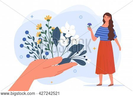 Herbal Medicine Concept. A Large Hand Holds Out Various Medicinal Plants To The Girl. Traditional Me
