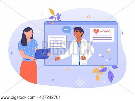 Online Diagnosis Concept. The Girl Is Talking To The Doctor Via Video Link. Online Consultation With