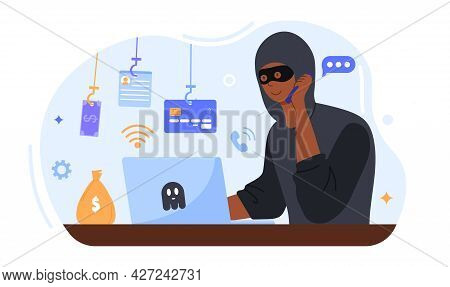Online Crime Concept. A Masked Fraudster Calls His Victim On The Phone And Asks For Banking Informat