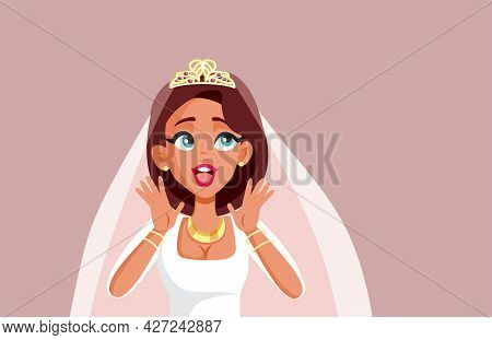 Cheerful Bride Reacting With Excitement Vector Illustration