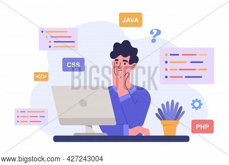 Programmer Coding Concept. A Man Is Sitting At A Computer And Composing A Code For A Future Site. Th
