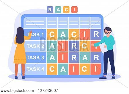 Raci Matrix Concept. A Man And A Woman Correctly Distribute Tasks In The Table To Get The Maximum Re