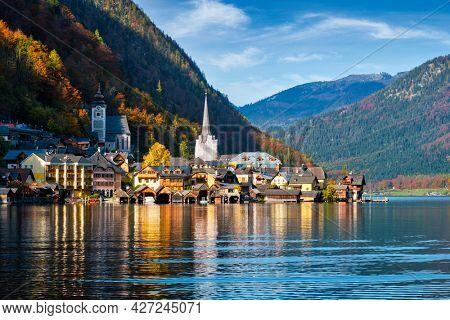 Austrian tourist destination Hallstatt village on Hallstatter See lake in Austrian alps. Salzkammergut region, Austria