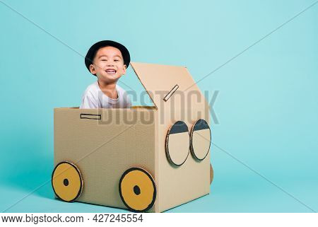 Happy Asian Children Boy Smile In Driving Play Car Creative By A Cardboard Box Imagination, Summer H