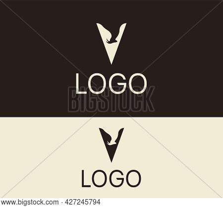 Letter V Goat Logo Design Template. Abstract Logo V Vector Illustration.