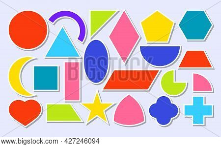 Colored Paper Sticker Geometric Shapes Icons Set. Basic Math Forms As Square, Circle, Oval, Triangle