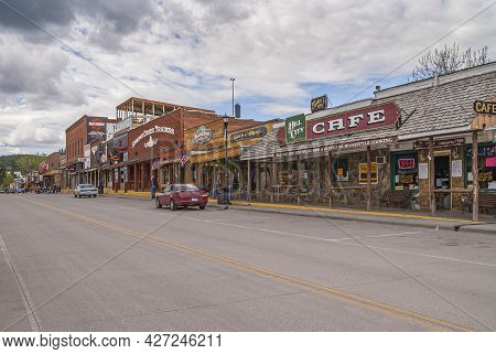 Black Hills National Forest, Sd, Usa - May 31, 2008: Downtown Hill City Main Street. Saloons, Bars A
