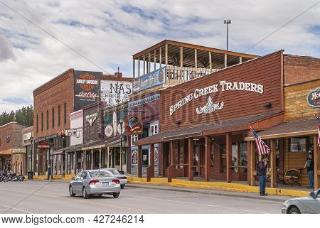 Black Hills National Forest, Sd, Usa - May 31, 2008: Downtown Hill City Main Street. Spring Creek Tr