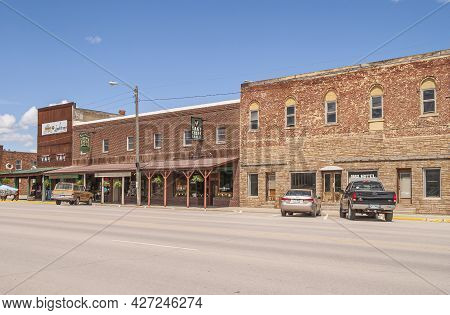 Black Hills National Forest, Sd, Usa - May 31, 2008: Downtown Hill City Main Street. Row Of Brick We