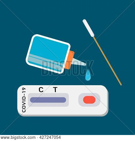 A Swab Test Or Rapid Test Kit For Viral Covid-19 Test.