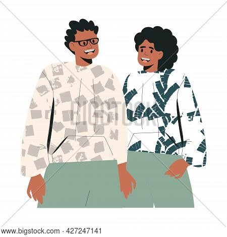 Happy African American Couple Of Friends. Black Young People In Casual Clothes. Trendy Character. Sm