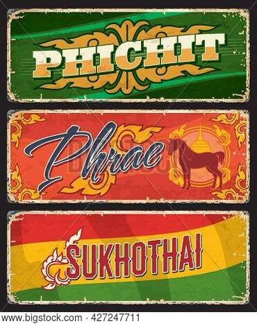 Phichit, Phrae And Sukhothai Thai Province Vector Plates With Thailand District Flag And Seal Signs.