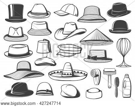 Men And Women Hats, Caps And Panamas. Vector Top Hat, Trilby And Sombrero, Homburg, Bucket And Cowbo