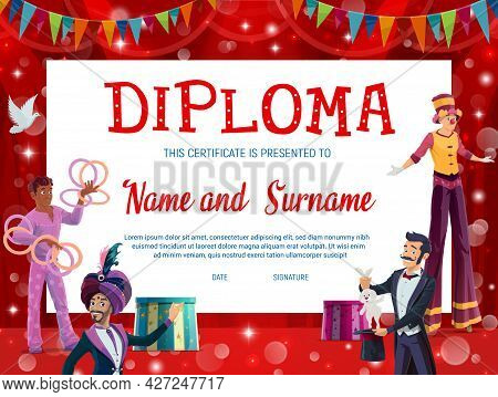 Shapito Circus Kids Education Diploma With Carnival Performers Vector Background Frame. School Gradu