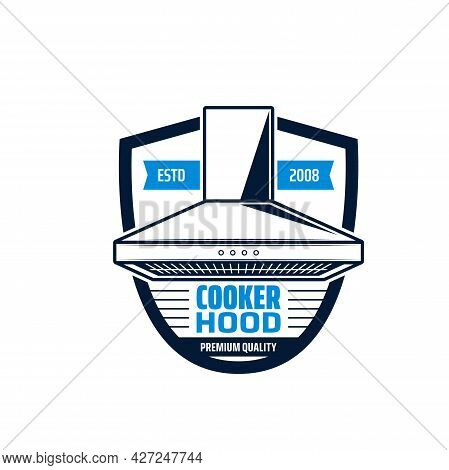 Cooker Hood Isolated Icon Of Kitchen Equipment Vector. Exhaust, Range Or Extractor Hood, Stove And O