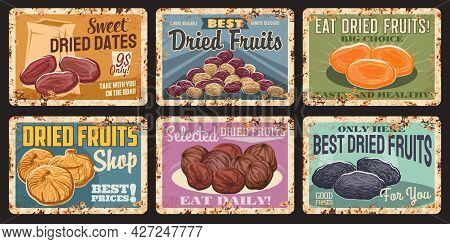 Dried Fruits Vintage Rusty Plates. Vector Dates, Raisins And Dried Apricots, Figs, Prunes. Healthy F
