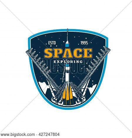 Spaceship On Start, Space Exploring And Galaxy Discovery, Vector Icon. Rocket Spacecraft Launch On S