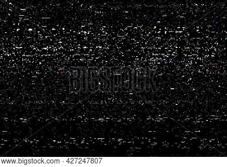Glitch Vhs Distortion Screen Vector Background Of Video Glitch Effect With Static Noise. Tv Signal E