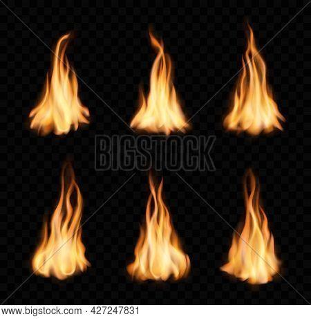 Burning Fire Flames And Trails, Vector Campfire Set. Torch Or Bonfire Blaze Glow Effect. Orange Shin