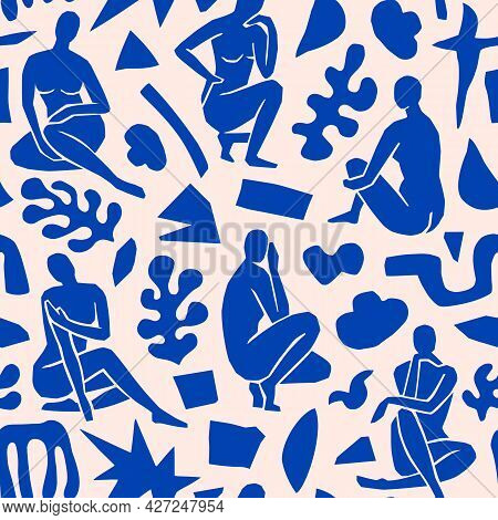 Matisse Inspired Abstract Art Seamless Pattern With Female Figure And Organic Shapes In A Trendy Min