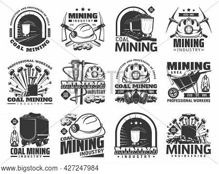 Coal Mining Industry Icons, Vector Monochrome Emblems With Mine Machinery And Miner Equipment Or Too