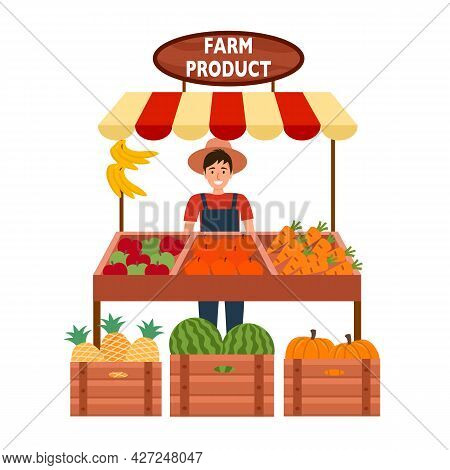 Local Farm Market Selling Fruits And Vegetables In Flat Design On White Background. Street Seller Fa