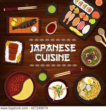 Japanese Cuisine Vector Grilled Fish Skewers, Nigiri And Uramaki Sushi, Shrimp Soba Noodles Or Match