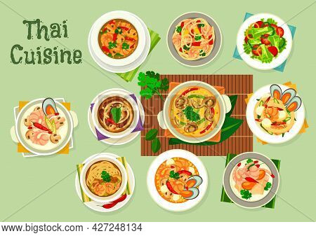 Thai Cuisine Seafood With Vegetables, Meat And Noodle Dishes. Vector Soups And Salads With Shrimps,