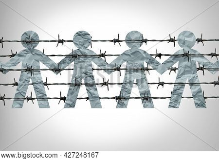 Immigration Social Issue As A Symbol For Migration Laws And Refugees As Barbed Wire With Paper Cut P