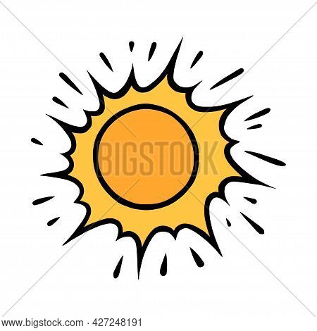 Handdrawn Yellow Sun. Bright Shining Sun With Beams In Doodle Style. Black And White Vector Illustra
